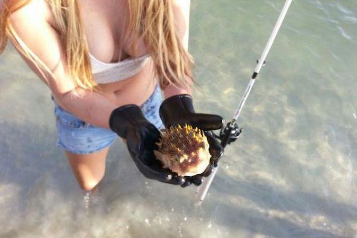 釣りが大好きな釣り女子。アウトドア美人 5